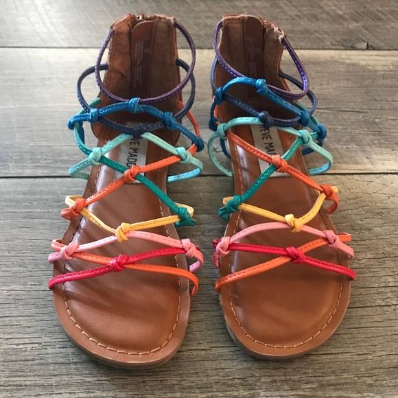 3e0aa009c5e Steve Madden girls rainbow sandals 11 gladiator. M 5b3a781f12cd4a2b3ffcae52